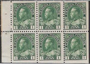 Canada 1911-25 Admiral- 1¢ Green Booklet Pane, #104a Mint, VF/DG, CV $50- dw7.29