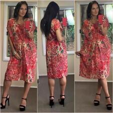 NWT $199 MEREDITH silk linen cotton POPPY FLORAL DRESS 14 summer watermelon NEW