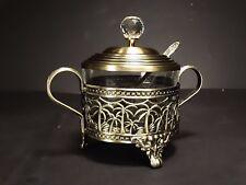 Set Turkish Tea  Glass Sugar Bowl + Spoon , Decorative Metal Brass Color
