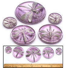 18-42mm Czech Glass Purple DRAGONFLY Mother/Daughter SHANKLESS Buttons 5p 3SIZES