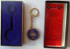 Orig. 1970 APOLLO XIII Blue & Gold Tone Pegasus Keychain in Box! ABORTED MISSION