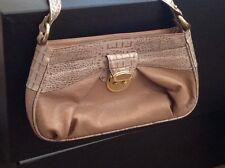 Brahmin Beige and Croc Two Tone Shoulder Handbag