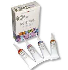 4X18 ml tube GLITTER CONTOURS Set Textile DECOLA Nevskaya palitra RUSSIA