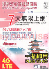NTT DOCOMO 7GB 4G LTE 7 DAYS UNLIMITED JAPAN DATA SIM PREPAID DATA SIM BY 3 HK
