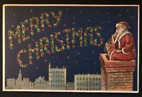 SANTA CLAUS on Roof Over Starry ~City~ Antique Merry Christmas Postcard-a97