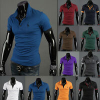 GN- New Men's Cotton Short Sleeve Slim Fit Polo Shirt T-Shirts Casual Shirts Fun