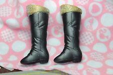 Disney Hannah Montana Shoes black boots gold glitter trim