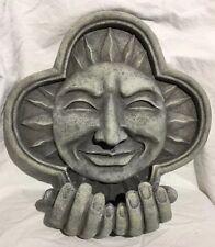 Sun Wall Plaque w/Cupped Hands Bird Feeder/Garden Decor Celestial Resin Cement