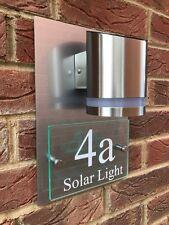 Número De Casa Puerta Cartel Placa Moderna Calle Vidrio Aluminio Efecto Solar Premium