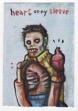 zombie dead undead heart on my sleeve folk pop pun lowbrow original art painting