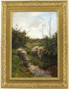 Sheep in a Landscape Antique Oil Painting by Willem Steelink (Dutch, 1856–1928)