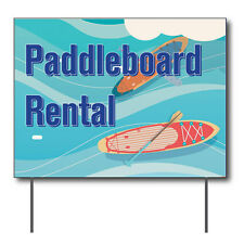 """Paddleboard Rental Curbside Sign, 24""""w x 18""""h, Full Color Double Sided"""