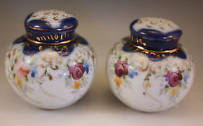 ANTIQUE NIPPON COBALT, FLORAL MORIAGE SALT AND PEPPER SHAKERS SET