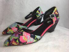 Bumper Women's Size 5.5 M Pumps Floral Hawaiian Heels Neon Shoes 'Dolly08' Mint!