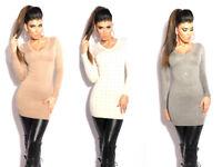 Maglione Donna Lungo Maxipull Pullover Strass Borchie Sweater Miniabito Sexy
