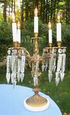 Antique Bronze and Crystal Five Candle Electrified Table Candelabra Lamp.