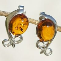 2.67g UNIQUE Natural Authentic Cognac BALTIC AMBER 925 Sterling Silver Earrings