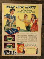 RARE Vintage 1940 Nestle EverReady Hot Cocoa Ad Colorfoto 11.5x15 inch FRAME IT
