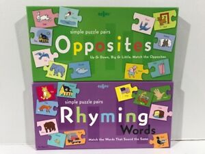 New eeBoo Opposites & Rhyming Puzzle Pairs Matching Games Educational