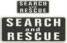 Search and Rescue embroidery patches 4x10 and 2x5 with hook on back white