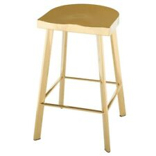 """16.3"""" W Set of 2 Bar Stool Polished Gold Stainless Steel Modenr Contoured Seat"""
