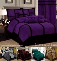 Linen-Plus-Collection Patchwork Micro Suede Comforter Set All Sizes