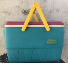 Vintage 90s IGLOO The Picnic Basket Cooler Teal Pink Yellow Handles Cooler Retro