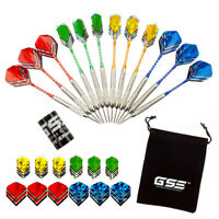 24 Grams Professional Steel Tip Darts w/Nickel Barrels, Aluminum Shafts(12-Pack)