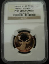 Belize 1984FM Gold $100 NGC PF-69UC White - Tailed Deer