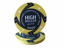 Blister da 25 fiches EPT HIGH ROLLER Replica poker Ceramica 10 gr. valore 5000