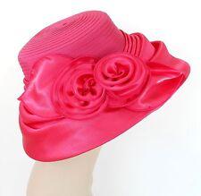 Woman Church Derby Wedding Vintage Satin Gold Dress Hat 2499 Hot Pink