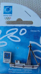 FISHING BOAT WHITE - ATHENS 2004 OLYMPIC PINS MADE BY TROFE THEMES FROM GREECE