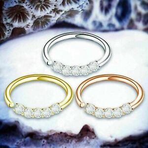Crystal Helix Ring Silver Cartilage Earring Silver Lip Ring Jewel Helix Hoop UK