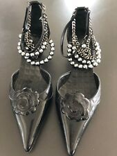 Chanel black quilted kitten heels RARE COLLECTOR ITEM ! chains pearls camellia !