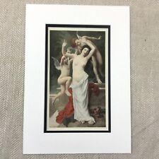1898 French Print Nude Girl Cherub Painting Adolf Langhard Original Antique
