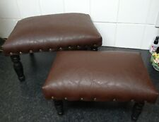 Lot of 2 footstools Faux Leather pinned