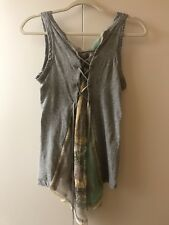 SACAI Gray leather tie up Tank top with paisley front SZ 3 from Japan