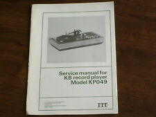 SERVICE MANUAL - ITT / KB RECORD PLAYER KP049