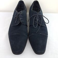 Stacy Adams Mens Shoes SZ 44EE Cadel Blue Suede Leather Lace Up Oxford EUC