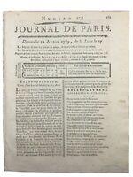 Montbrison Forez en 1789 Etats Généraux Course Cheval Longchamps Passy Paris