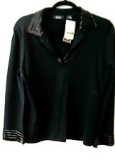 Peck and Peck Collection NWT Women's Holiday Party Sweater Black Beaded Large