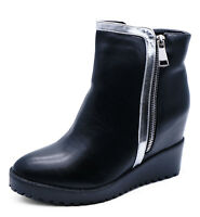 LADIES BLACK WEDGE ZIP-UP CALF SMART PLATFORM WORK ANKLE BOOTS SHOES SIZES 3-8