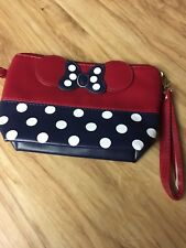 Bowtie make up pouch red/navy/white polkadot