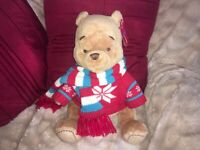 "DISNEY STORE WINNIE THE POOH 2008 WINTER CHRISTMAS EDITION 14"" SOFT TOY TAGS"