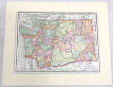 1901 Antique Map of Washington State United States of America Original Americana