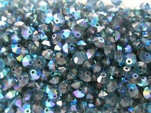 142 preciosa squished spacer crystal bicone beads,5x3mm Montana AB