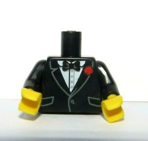 Lego 1 Body Torso For Minifigure Black Suit Jacket Bowtie Red Flower
