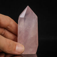 107g 75mm Natural Pink Rose Quartz Crystal Point/Tower Healing Obelisk Wand