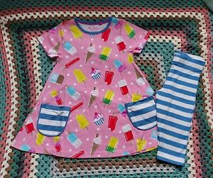 Mini Boden girl tunic and cropped leggings /outfit 5-6 years VGUC