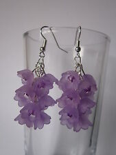 Goccia/Dangle Earrings-Viola Fiore Cluster-fiori lucite
